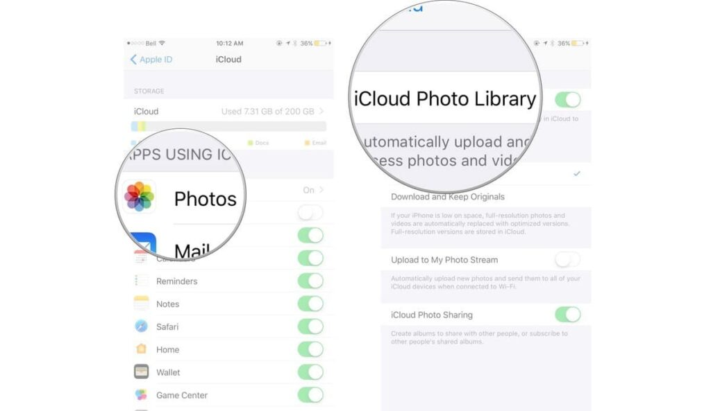 Set up iCloud Photo Library in iPhone and iPod