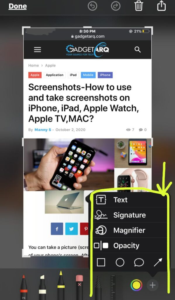 instant markup more button  edit screenshots