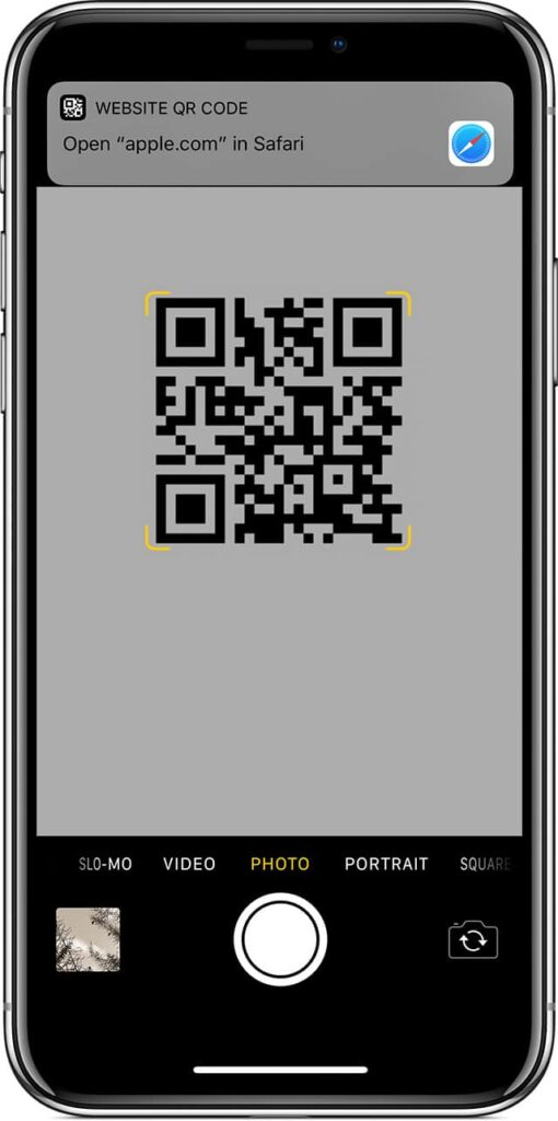 scan QR code on iPhone and iPad