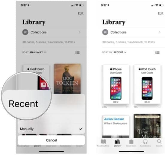 Manage your library in Apple Books and sort books