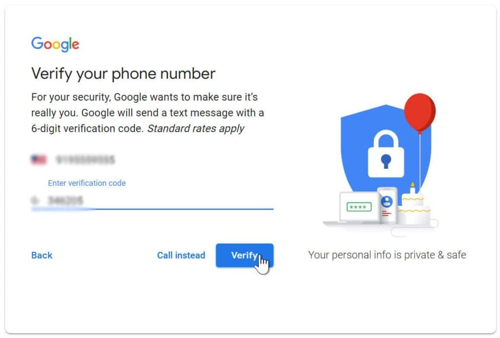 Enter verification code in Gmail account
