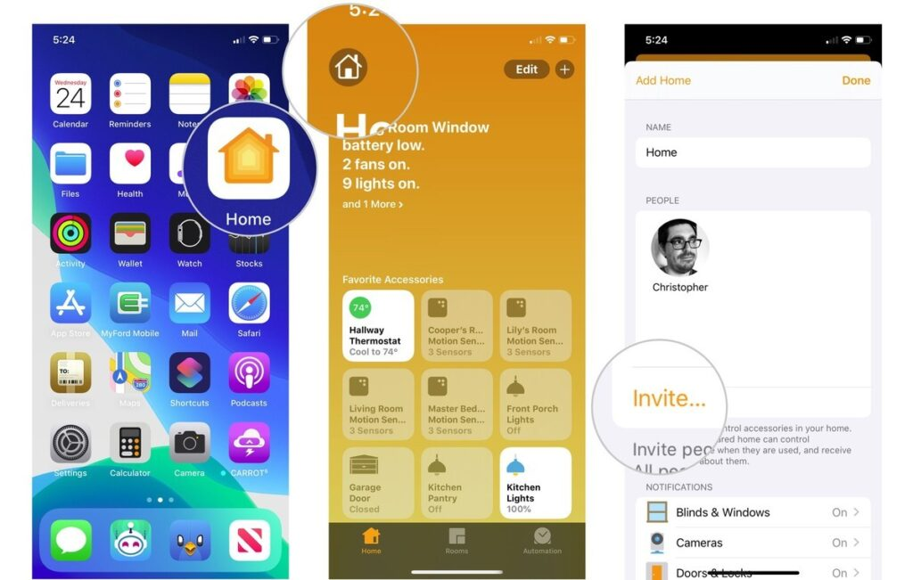 invite people to your HomeKit home on iOS and iPadOS