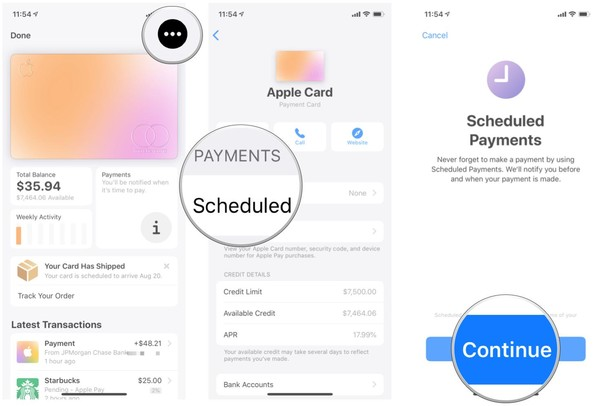 schedule payments on Apple card