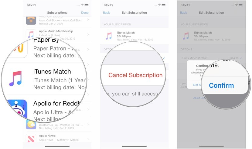 unsubscribe and cancel iTunes match