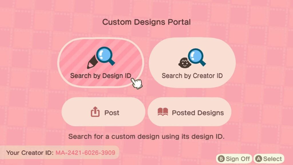 Animal Crossing: Search by Design ID