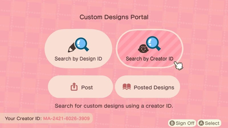 Animal Crossing: Search by Creator ID