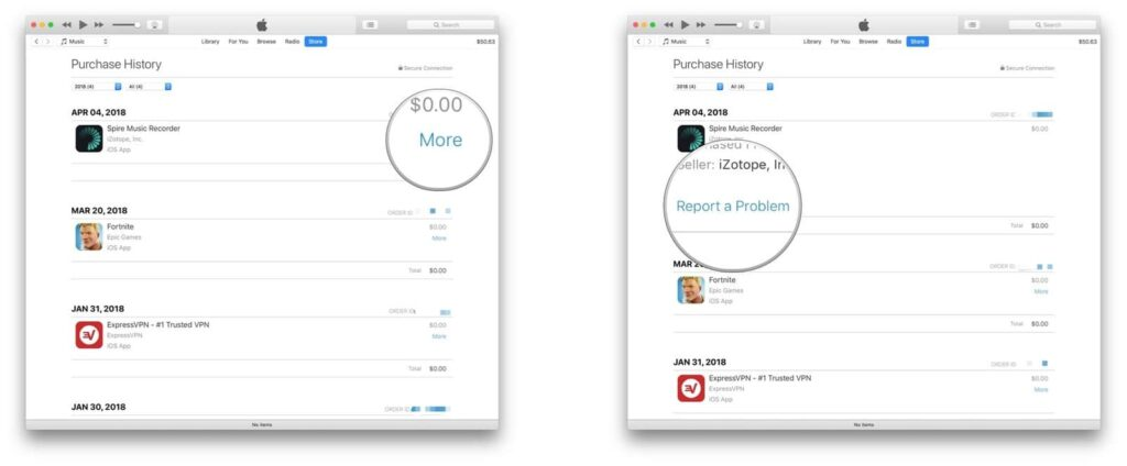 get a refund for iTunes or App Store