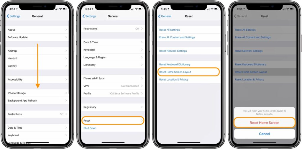Reset Home Screen and restore iPhone