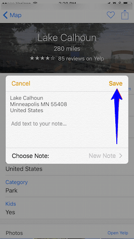 add your location to Notes