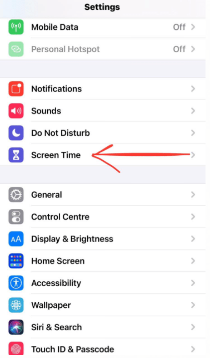 lock apps on iPhone - settings screen time
