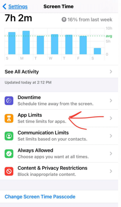 lock apps on iPhone - screen time