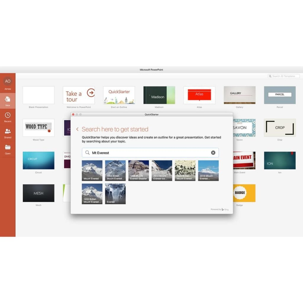 Microsoft Office-Touch Bar apps for MacBook Pro