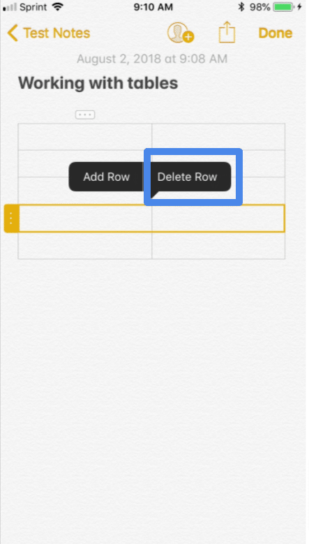 Using tables in iPhone notes