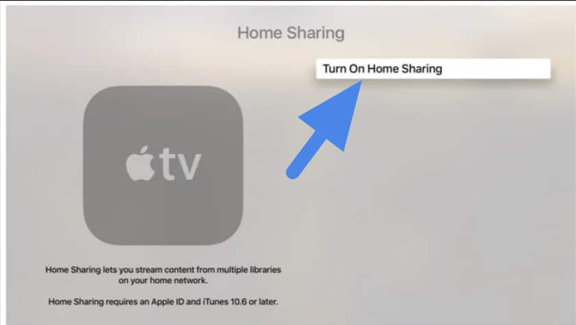 Set up Home and Use Home Sharing on Apple TV