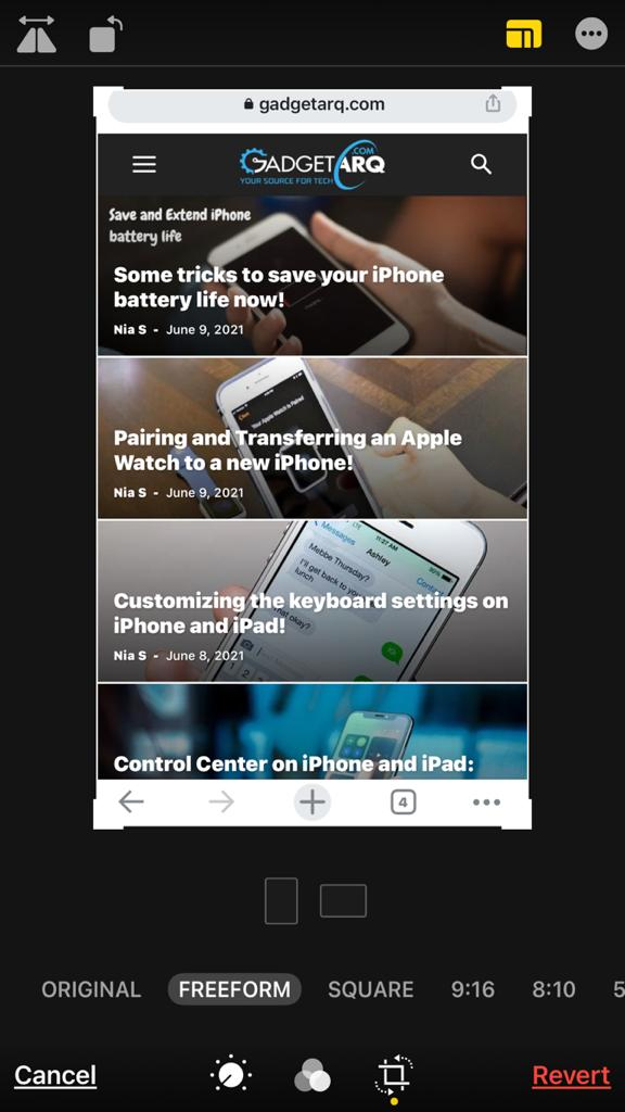 Crop, Straighten and Rotate photos on iPhone and iPad