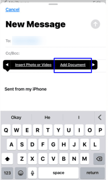 Use attachment in Mail app