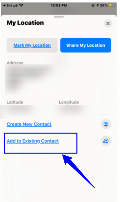 Add your current location to a contact