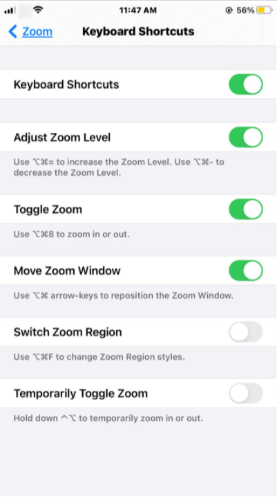zoom accessibility iPhone  keyboard shortcuts