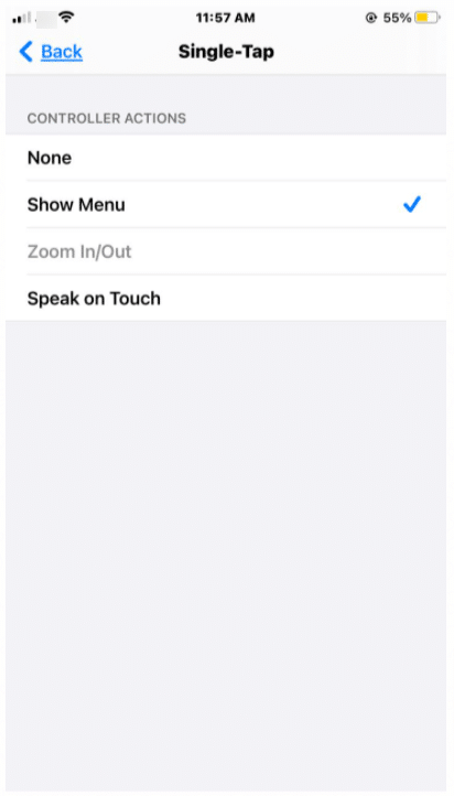 zoom features on iPhone = single tap