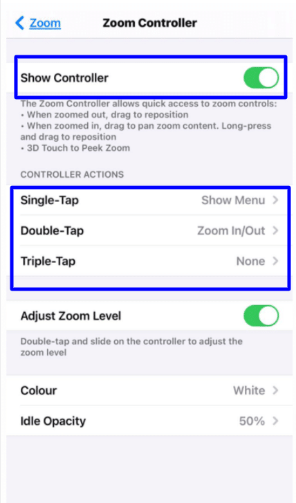 zoom accessibility iPhone zoom controller