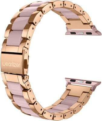 Wearlizer Stainless Steel Resin Replacement Strap- bands for your rose gold Apple Watch